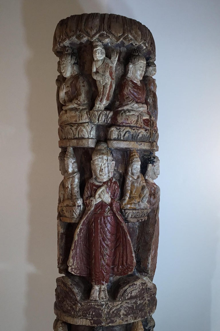 Vintage Hand Carved Cluster of Buddha Statue For Sale 1