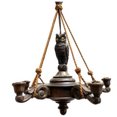 Vintage Hand Carved German Black Forest Chandelier with an Owl Sculpture, 1930s
