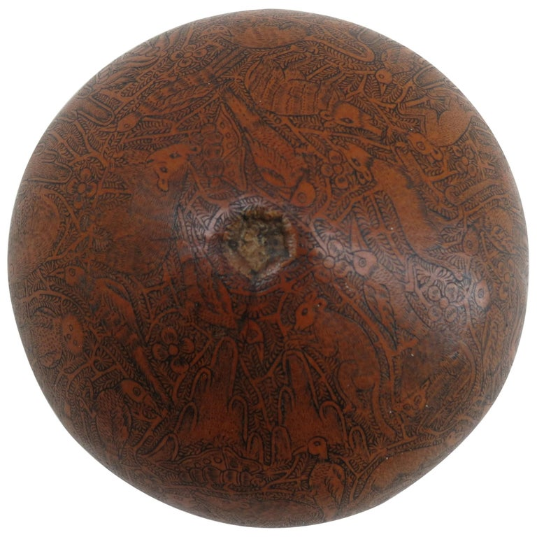 Vintage Hand Carved Gourd from South American For Sale