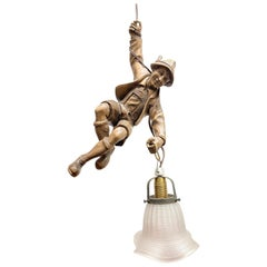 Vintage Hand Carved Mountain Climber or Mountaineer Pendant Light