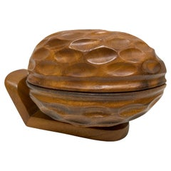 Vintage Hand Carved Nut Woodenware Catchall, 1960s