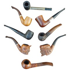 Vintage Hand Carved Pipe Collection Devil & Arab Sculptures and More Rare Pipes