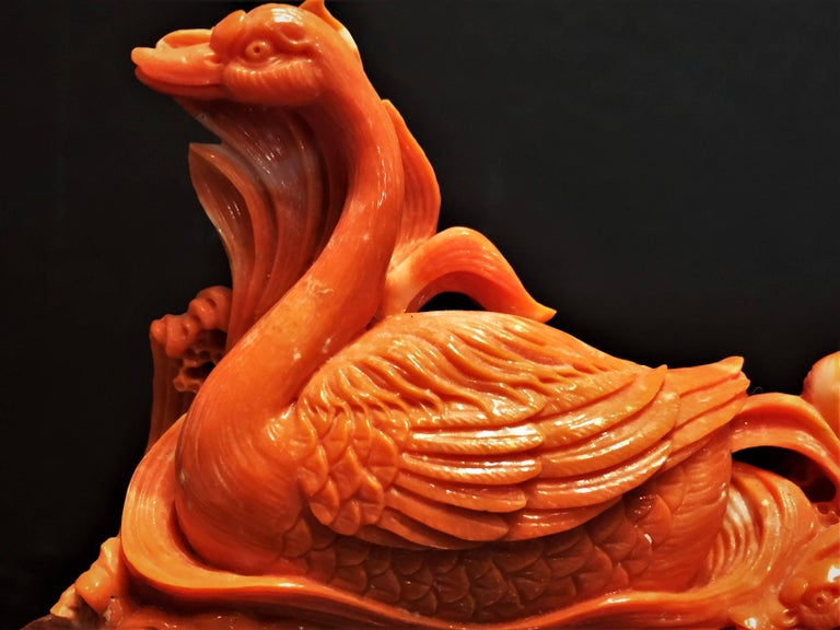 Chinese Vintage Hand-Carved Red Coral Sculpture of Swans, China, 20th Century