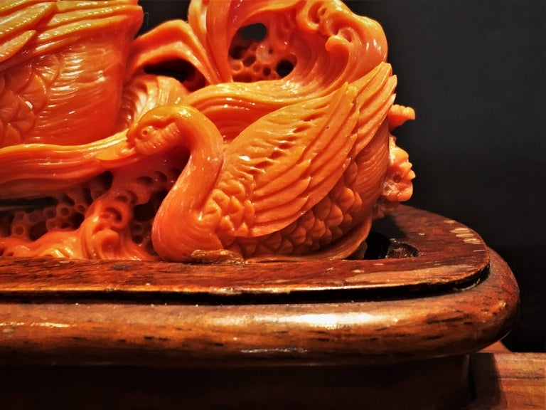 Vintage Hand-Carved Red Coral Sculpture of Swans, China, 20th Century In Good Condition In New York, NY