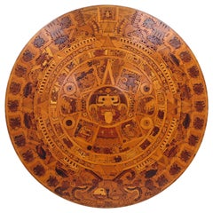 Vintage Hand Carved Wood Aztec Calendar Table Top or Wall Art Mexico