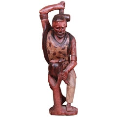 Vintage Hand Carved Wood Blacksmith Statue