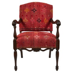 Vintage Hand Carved Wood Framed Arm Chair Newly Upholstered in Turkish Rug