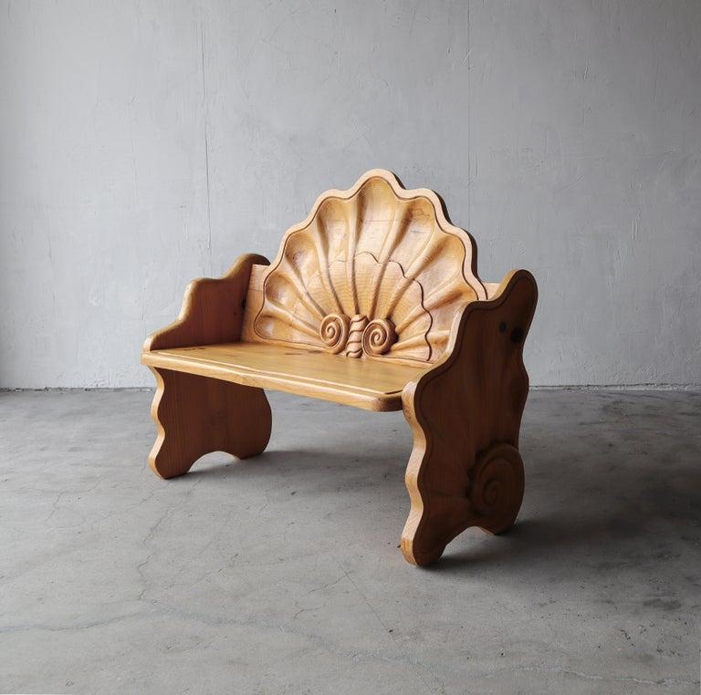 Folk Art Vintage Hand Carved Wood Shell Motif Bench For Sale