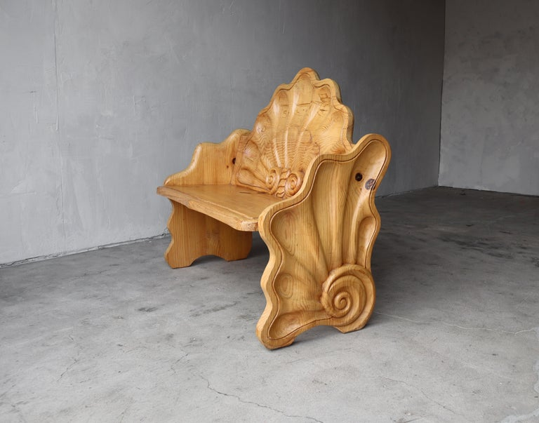 Hand-Carved Vintage Hand Carved Wood Shell Motif Bench For Sale