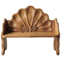 Vintage Hand Carved Wood Shell Motif Bench