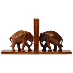 Hand Carved Wooden Book Ends with Elephant Sculptures / Figures, circa 1960s