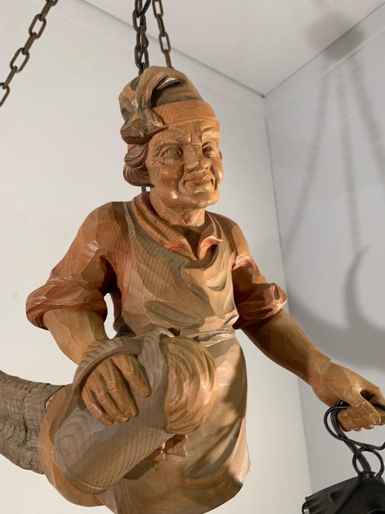 Vintage Hand Carved Wooden Lustermanchen Sculpture Chandelier W. Lantern Light For Sale 2