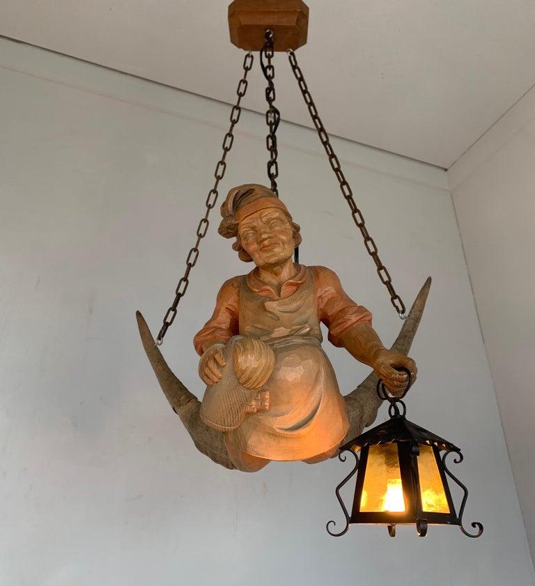Vintage Hand Carved Wooden Lustermanchen Sculpture Chandelier W. Lantern Light For Sale 6