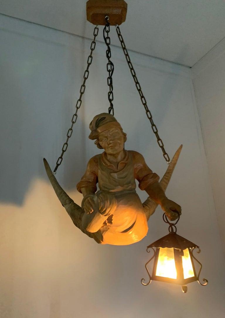 Vintage Hand Carved Wooden Lustermanchen Sculpture Chandelier W. Lantern Light For Sale 7