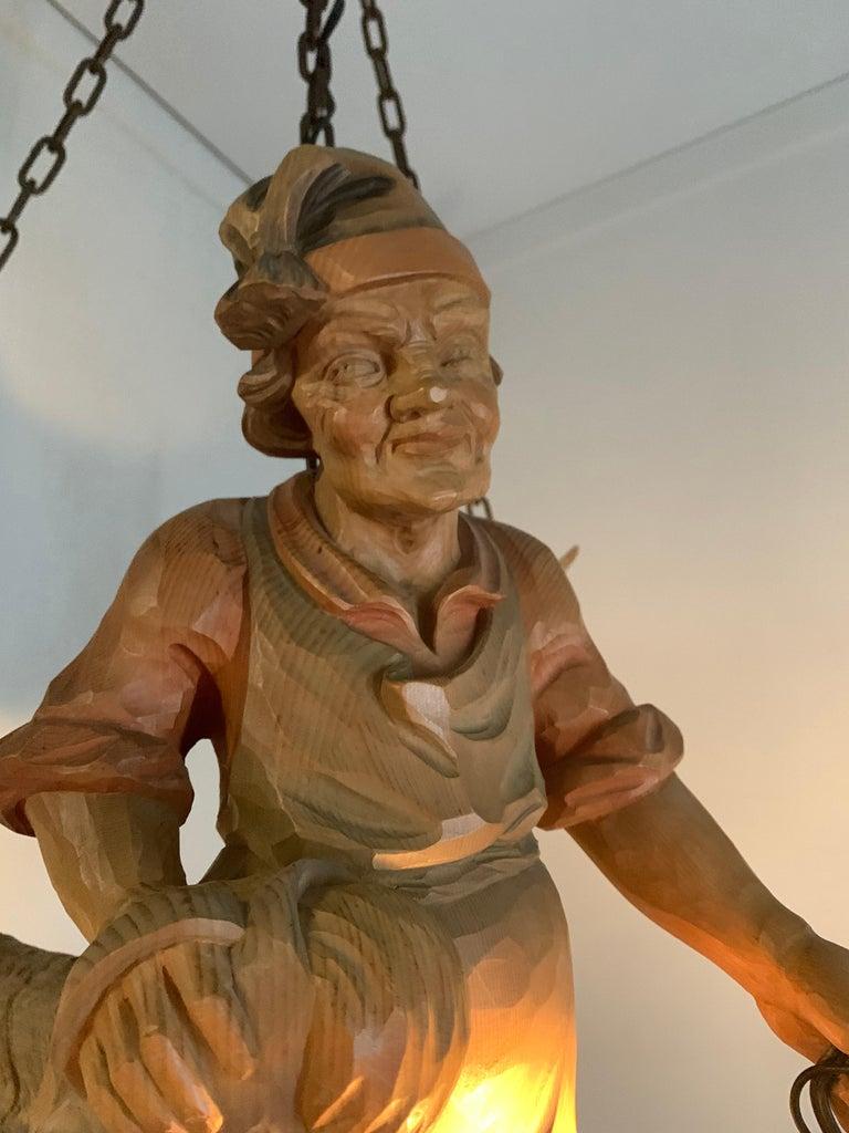 Vintage Hand Carved Wooden Lustermanchen Sculpture Chandelier W. Lantern Light For Sale 8