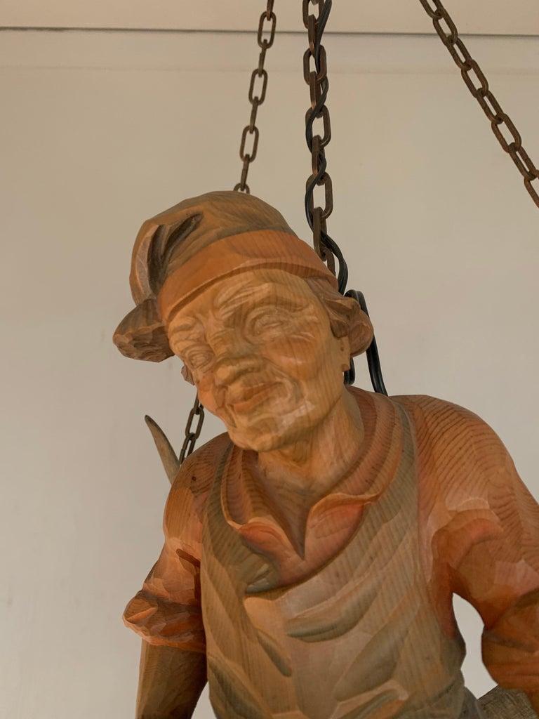 Vintage Hand Carved Wooden Lustermanchen Sculpture Chandelier W. Lantern Light For Sale 9
