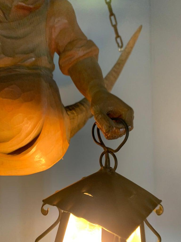 Vintage Hand Carved Wooden Lustermanchen Sculpture Chandelier W. Lantern Light For Sale 10