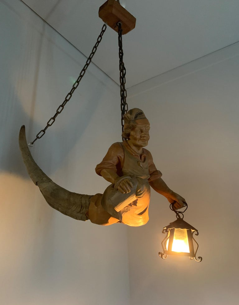 Vintage Hand Carved Wooden Lustermanchen Sculpture Chandelier W. Lantern Light For Sale 11