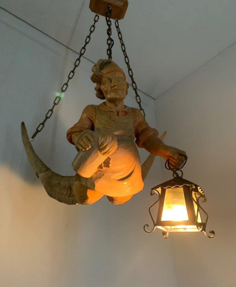 Vintage Hand Carved Wooden Lustermanchen Sculpture Chandelier W. Lantern Light For Sale 12