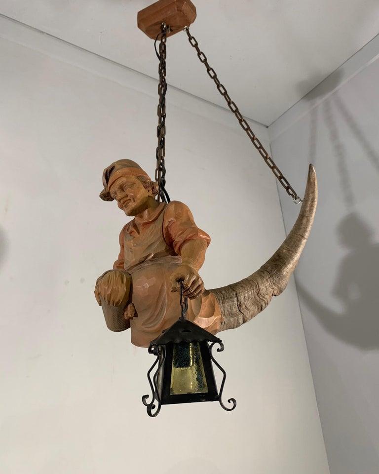 Austrian Vintage Hand Carved Wooden Lustermanchen Sculpture Chandelier W. Lantern Light For Sale