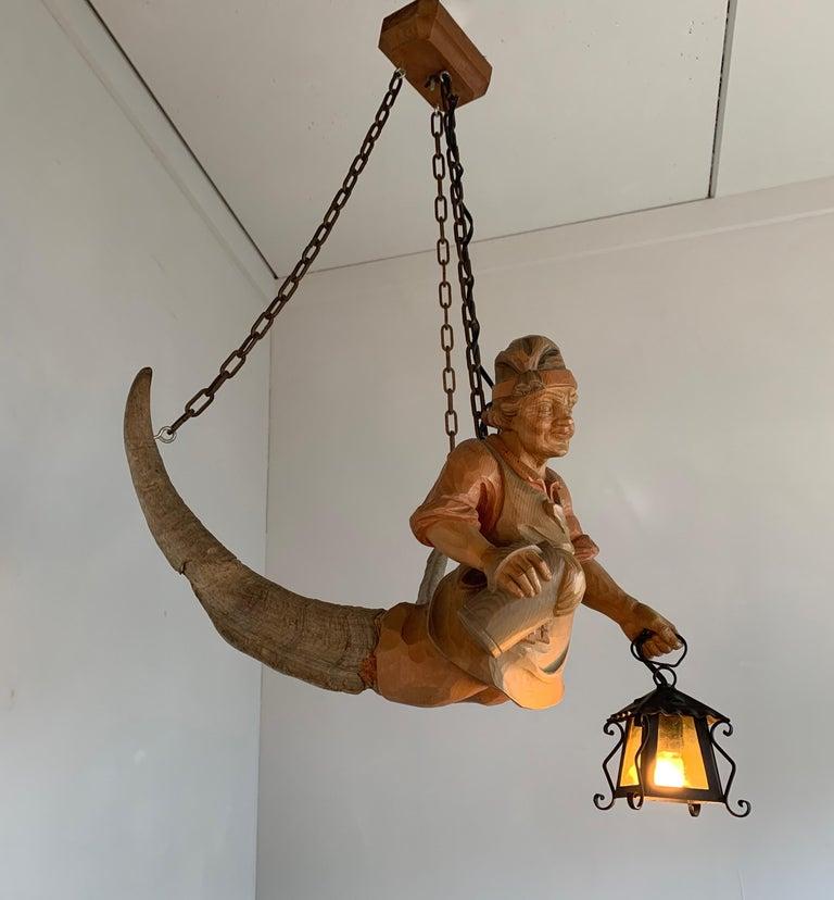 20th Century Vintage Hand Carved Wooden Lustermanchen Sculpture Chandelier W. Lantern Light For Sale