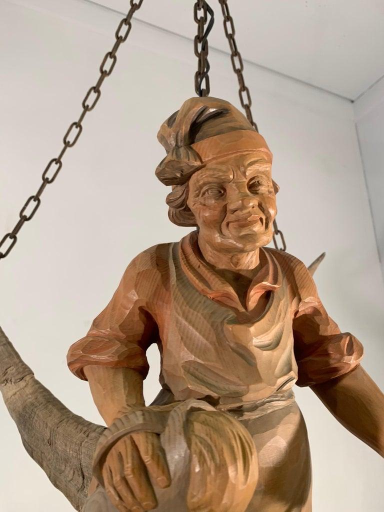Vintage Hand Carved Wooden Lustermanchen Sculpture Chandelier W. Lantern Light For Sale 1