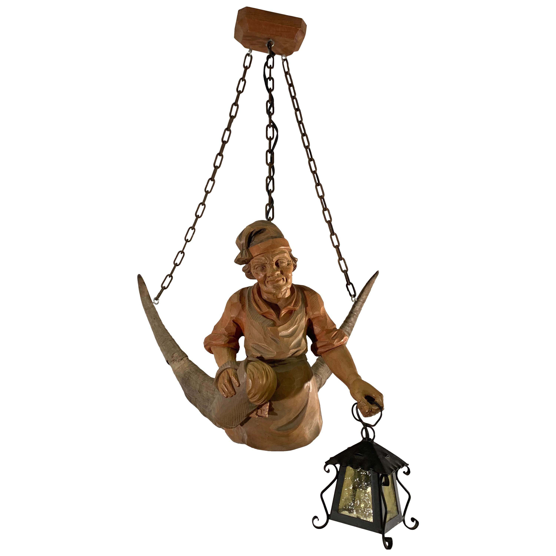 Vintage Hand Carved Wooden Lustermanchen Sculpture Chandelier W. Lantern Light