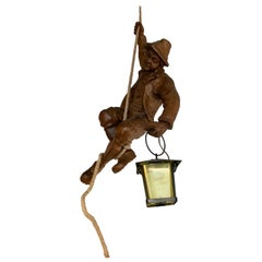 Vintage Hand Carved Wooden Mountaineer Sculpture Pendant Light with Lantern