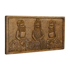 Vintage Hand Carved Wooden Plaque, Asian, Hardwood, Decorative, Tribal Scene