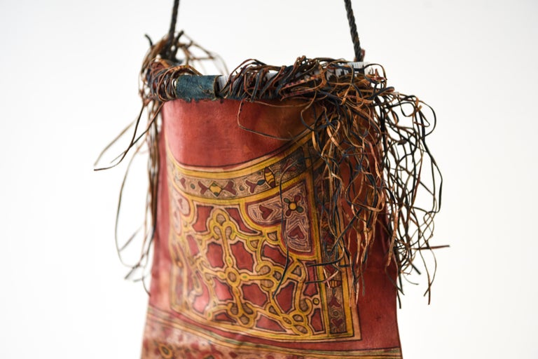 20th Century Vintage Hand Decorated Moroccon Leather Bag