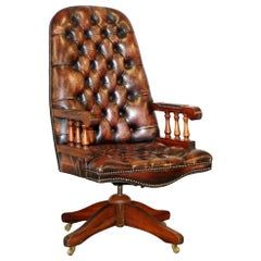 Vintage Hand Dyed Brown Leather Chesterfield Office Directors Captains Chair