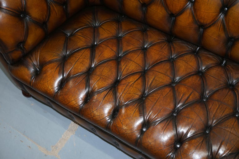 Vintage Hand Dyed Fully Restored Whisky Brown Pleated Leather Chesterfield Sofa For Sale 5