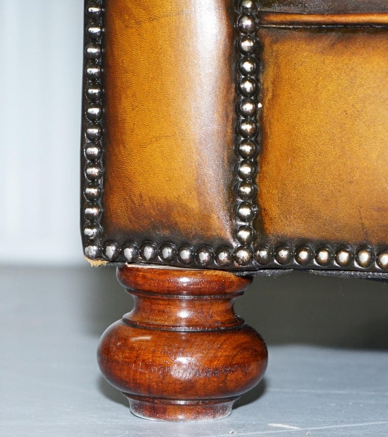 Vintage Hand Dyed Fully Restored Whisky Brown Pleated Leather Chesterfield Sofa For Sale 8