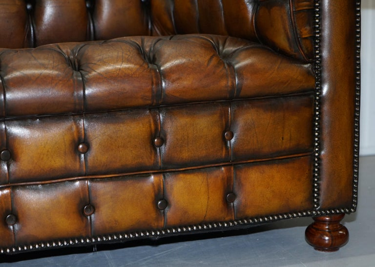 Vintage Hand Dyed Fully Restored Whisky Brown Pleated Leather Chesterfield Sofa For Sale 9