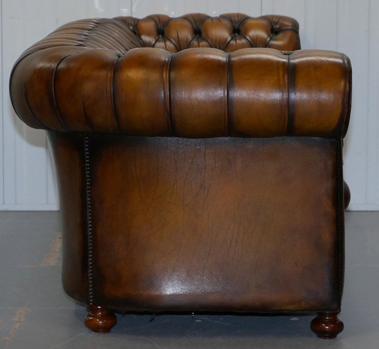 Vintage Hand Dyed Fully Restored Whisky Brown Pleated Leather Chesterfield Sofa For Sale 10