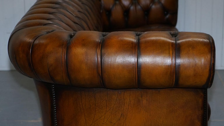 Vintage Hand Dyed Fully Restored Whisky Brown Pleated Leather Chesterfield Sofa For Sale 11