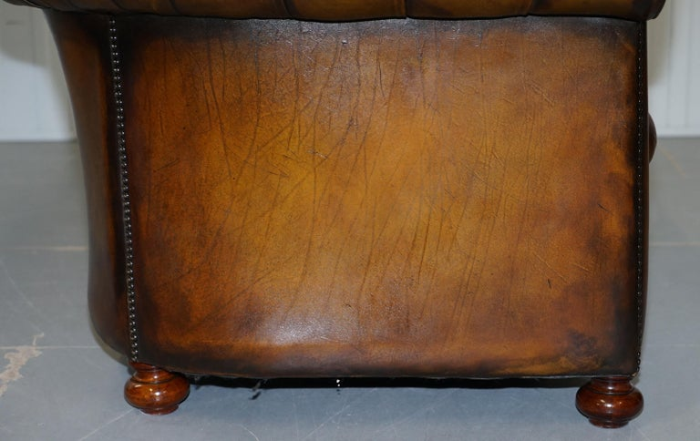 Vintage Hand Dyed Fully Restored Whisky Brown Pleated Leather Chesterfield Sofa For Sale 12