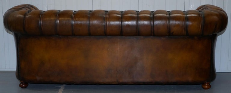 Vintage Hand Dyed Fully Restored Whisky Brown Pleated Leather Chesterfield Sofa For Sale 13