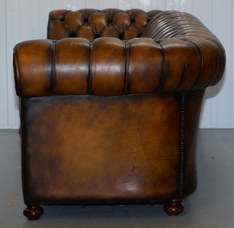 Vintage Hand Dyed Fully Restored Whisky Brown Pleated Leather Chesterfield Sofa For Sale 14