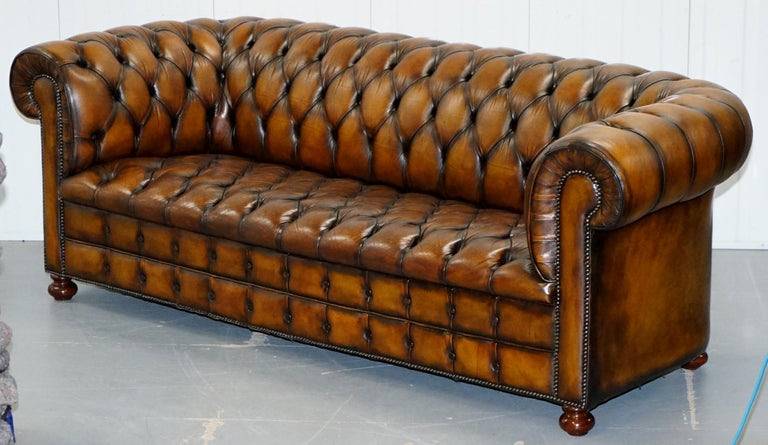 English Vintage Hand Dyed Fully Restored Whisky Brown Pleated Leather Chesterfield Sofa For Sale