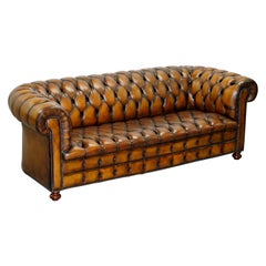 Vintage Hand Dyed Fully Restored Whisky Brown Pleated Leather Chesterfield Sofa