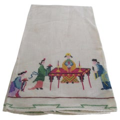 Vintage Hand Embroidered Guest Towel Depicting Asian Tea Ceremony