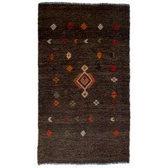 Vintage Hand-Embroidered Turkish Kilim Rug, Flat-Weave
