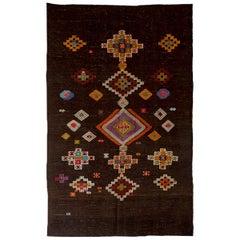Vintage Hand-Embroidered Turkish Kilim Rug