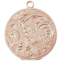 Vintage Hand-Engraved Solid Rose Gold Locket Necklace