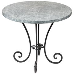 Vintage Hand Forged Iron Base Table with Round Soapstone Top