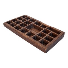Vintage Hand-Hewn Rustic Teak Compartment Tray from Java, Mid-20th Century