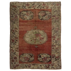 Vintage Hand Knotted Central Anatolian Tulu Rug