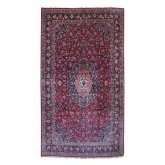 Vintage Hand Knotted Kashan Floral Medallion Area Rug Carpet, Persian