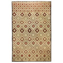 Vintage Hand Knotted Moroccan Natural Wool Rug with Geometric Design